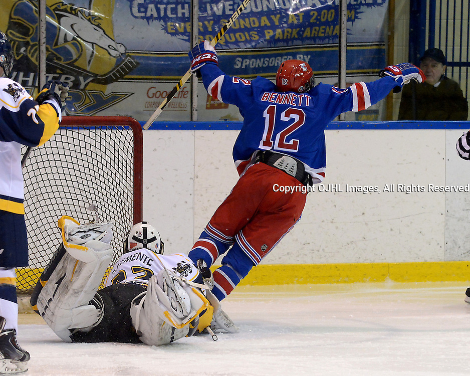 WHITBY, ON - Jan 19 : Ontario Junior Hockey League, Regular Season Game Action between Whitby Fury and Oakville Blades. Kris Bennett #12 of the Oakville Blades Hockey Club celebrates the goal on Boyd Diclemente 33 of the Whitby Fury Hockey Club.<br /> (photo by Jay Johnston / OJHL Images)
