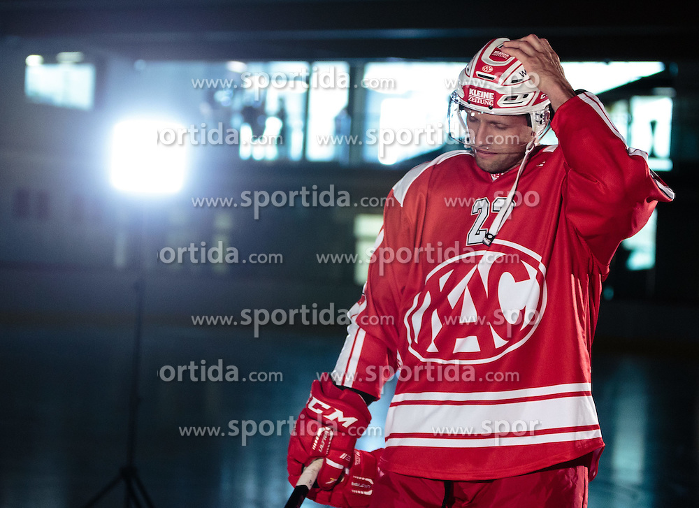 10.08.2015, Red Bull Akademie Liefering, Salzburg, AUT, EBEL, Medien Tag, im Bild Thomas Pöck (EC KAC) // during the Erste Bank Icehockey League Media Da at the Red Bull Football and Icehockey Academy Liefering in Salzburg, Austria on 2015/08/10. EXPA Pictures © 2015, PhotoCredit: EXPA/ JFK