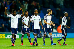 West Brom players Brown Ideye, Saido Berahino of West Brom, Andre Wisdom of West Brom and Craig Dawson celebrate after winning the penalty shootout - Photo mandatory by-line: Rogan Thomson/JMP - 07966 386802 - 26/08/2014 - SPORT - FOOTBALL - The Hawthorns, West Bromwich - West Bromwich Albion v Oxford United - Capital One Cup Round 2.