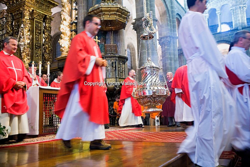 cathedral, rite of` botafumeiro´.Botafumeiro´ is a typical censer.Santiago de Compostela. A Coruña  province.Spain. Camino de Santiago.
