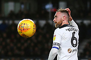 Derby County defender Richard Keogh (6) reacts as a Derby County chance is missed during the EFL Sky Bet Championship match between Derby County and Nottingham Forest at the Pride Park, Derby, England on 17 December 2018.