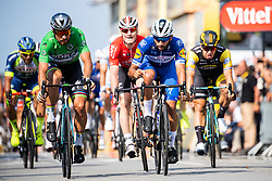 July 10, 2018 - Sarzeau, FRANCE - 180710 Fernando Gaviria of Quick-Step Floors finishes first before Peter Sagan of Bora–Hansgrohe during stage four of Tour de France between  La Baule to Sarzeau on July 9, 2018 in Sarzeu. .Photo: Fredrik Varfjell / BILDBYRÃ…N / kod FV / 150118 (Credit Image: © Fredrik Varfjell/Bildbyran via ZUMA Press)