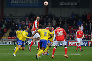 Jamie Ness clearing the midfield during the Sky Bet League 1 match between Crewe Alexandra and Crawley Town at Alexandra Stadium, Crewe, England on 3 April 2015. Photo by Michael Hulf.