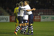 Preston celebrate making it 1-1 during the FA Women's Lancashire Cup Final match between Preston North End Ladies and Blackburn Rovers Women at the County Ground, Leyland, United Kingdom on 28 April 2016. Photo by Pete Burns.