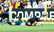 All Black prop Tony Woodcock scores a try.<br />