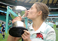 Rugby Union - 2017 Women's Varsity Match - Oxford University vs. Cambridge University<br /> <br /> Cambridge Captain, Lara Gibson kisses the trophy at Twickenham.<br /> <br /> COLORSPORT/ANDREW COWIE