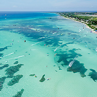Aerial view of Malmok Beach on the island of Aruba. Place where Kitesurf and Windsurf are practiced.