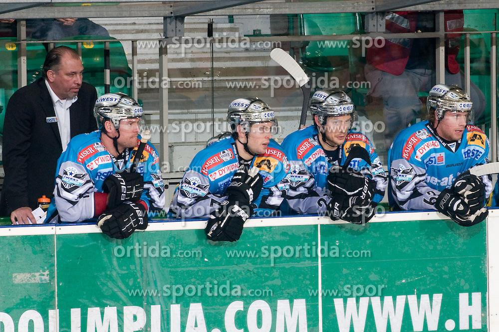Bench of EHC Liwest Black Wings Linz during ice-hockey match between HDD Tilia Olimpija and EHC Liwest Black Wings Linz in 19th Round of EBEL league, on November 7, 2010 at Hala Tivoli, Ljubljana, Slovenia. (Photo By Matic Klansek Velej / Sportida.com)
