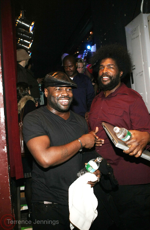 l to r: Black Thought(ROOTS) and Quest?love(ROOTS) at The OkayPlayer Hoiliday Jammy presented by OkayPlayer and Frank Magazine held at BB Kings on December 18, 2008 in New York City..The Legendary Roots Crew gives back to fans with All-Star line-up of Special Guests to celebrate upcoming Holiday Season.
