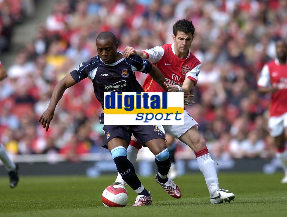 Photo: Olly Greenwood.<br />Arsenal v West Ham United. The Barclays Premiership. 07/04/2007. West Ham's Nigel Reo-Coker and Arsenal's Francesc Fabregas