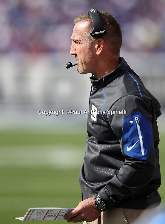 New York Giants defensive coordinator Steve Spagnuolo looks on from the sideline during the 2015 NFL week 4 regular season football game against the Buffalo Bills on Sunday, Oct. 4, 2015 in Orchard Park, N.Y. The Giants won the game 24-10. (©Paul Anthony Spinelli)