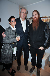 Left to right, LUCY CHADWICK, JEREMY KING and DUFFY at the launch party for Club Monaco at Browns, 32 South Molton Street, London on 16th February 2011.