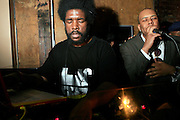 "Questlove and Dice Raw at The Roots Album realease party for ""Roots Down"" at Sutra on April 29, 2008"".. The Legendary Roots Crew, the influential, Grammy Award-winning American band from Philadelphia, Pennsylvania, famed for a heavily jazzy sound and live instrumentation, have made 10 Albums to date."