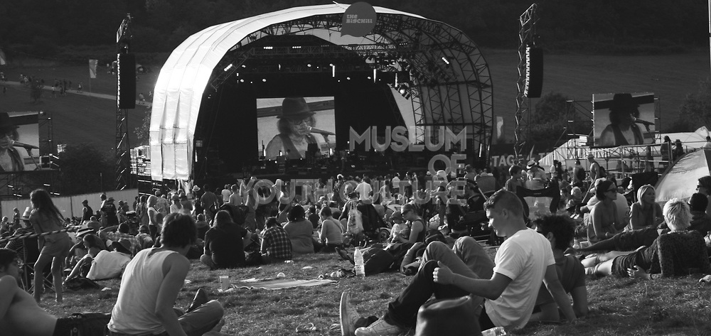 Crowd and stage overview at Big Chill Festival, UK, 1990s.
