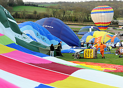 ©London News pictures. 07/04/2011. CANTERBURY: Approximately 50 hot air balloons from across the UK and Europe take advantage of the weather window and take off from Lydden Hill Race Circuit, Wootton, Kent, to fly across the English Channel marking the largest ever group of balloons to attempt the crossing. The participants  have been waiting since October for the event to happen. Picture credit should read Stephen Simpson/LNP