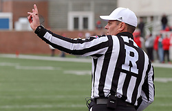 04 October 2014: Referee: Tim O'Dey during an NCAA FCS Missouri Valley Football Conference game between the South Dakota State Jackrabbits and the Illinois State University Redbirds at Hancock Stadium in Normal Illinois