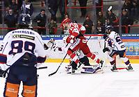 2019-10-16 | Ljungby, Sweden: Troja / Ljungby scoring 2-0 and Troja-Ljungby (62) Mattias Elfström jumps infornt of Kallinge-Ronneby (35) Isak Edman during the game between IF Troja / Ljungby and Kallinge / Ronneby IF at Ljungby Arena ( Photo by: Fredrik Sten | Swe Press Photo )<br /> <br /> Keywords: Ljungby, Icehockey, HockeyEttan, Ljungby Arena, IF Troja / Ljungby, Kallinge / Ronneby IF, fstk191016, ATG HockeyEttan