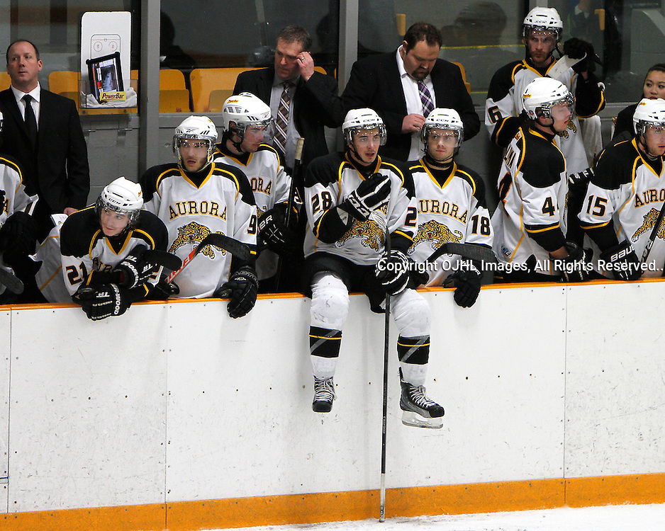 AURORA, ON - Mar 1 : Ontario Junior Hockey League, Playoff Series Action: 1st round game between the Lindsay Muskies and the Aurora Tigers, Aurora Tiger's Hockey Club bench..(Photo by Brian Watts / OJHL Images)