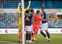 Football - 2019 / 2020 EFL Championship -  Millwall vs. Huddersfield Town<br /> <br /> Close marking in the penalty box as players prepare for the corner to come across at The Den.<br /> <br /> COLORSPORT/DANIEL BEARHAM