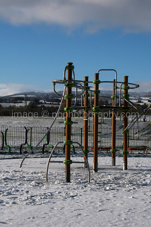 Snow covered playground in suburban in Dublin Ireland