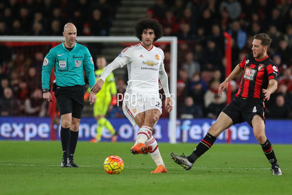 Marouane Fellaini of Manchester United on the ball during  the Barclays Premier League match between Bournemouth and Manchester United at the Goldsands Stadium, Bournemouth, England on 12 December 2015. Photo by Phil Duncan.