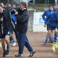 St Johnstone Training...21.02.03     Ex-Celt Chris hay gets a clip round the ear fro Billy Kirkwood during training this morning.<br />see story by Gordon Bannerman.  Tel 01738 553978<br /><br />Picture by Graeme Hart.<br />Copyright Perthshire Picture Agency<br />Tel: 01738 623350  Mobile: 07990 594431