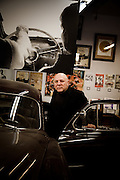 "San Francisco, April 3 2012 - At the Beat Museum, portrait of the owner Jerry Cimino in front of the car used for the movie ""On th Road"" by Walter Salles."