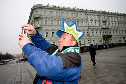 Slovenian fan in Moscow at Kremelj, on November 14, 2009, Moscow, Russia.  (Photo by Vid Ponikvar / Sportida)