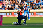 Eoin Morgan of England hits the ball to the boundary for four runs during the International T20 match between England and India at the SWALEC Stadium, Cardiff, United Kingdom on 6 July 2018. Picture by Graham Hunt.
