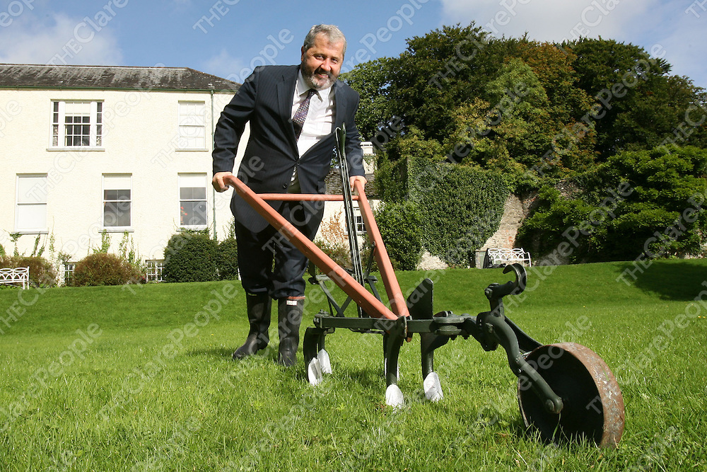15/09/08<br /> Ploughing Ahead.<br /> Planning to make a good impression at the National Ploughing Championships which takes place in Farmley, Cuffesgrange, Co. Kilkenny from 23th to 25th September is Paul Ryan, Regional Marketing Manager with Shannon Development as he gets in some practise at Bunratty Castle, and Folk Park, Co. Clare prior to the Championships.<br /> Shannon Devevelopment aims to increase it's participation at this years championship which attracts over 165,000 visitors from all walks of life where they will be showcasing new tourism products including Shannon Region tourist attractions and enterprise property solutions.<br /> Pic: Don Moloney/Press 22