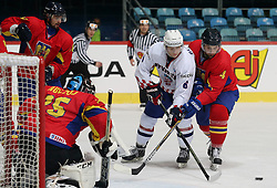 20.04.2016, Dom Sportova, Zagreb, CRO, IIHF WM, Rumaenien vs Kroatien, Division I, Gruppe B, im Bild BLAGUS Mislav, FLINTA Botond // during the 2016 IIHF Ice Hockey World Championship, Division I, Group B, match between Romania and Croatia at the Dom Sportova in Zagreb, Croatia on 2016/04/20. EXPA Pictures © 2016, PhotoCredit: EXPA/ Pixsell/ Dalibor Urukalovic<br /> <br /> *****ATTENTION - for AUT, SLO, SUI, SWE, ITA, FRA only*****