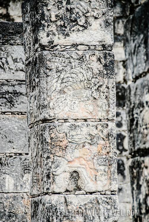 Stone pillars at Chichen Itza Archeological Zone in Chichen Itza, Mexico