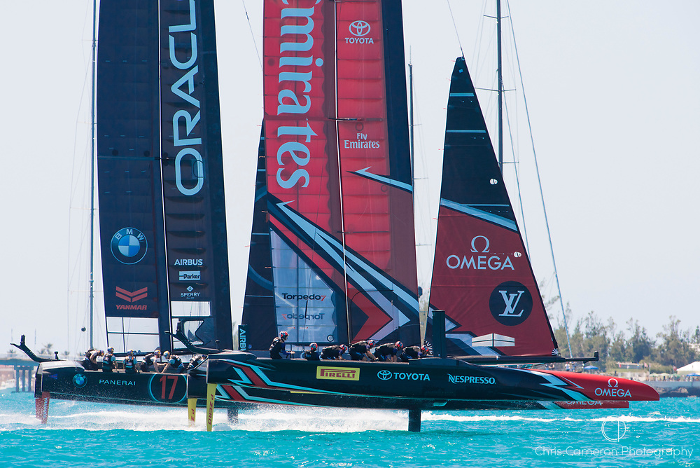 The Great Sound, Bermuda, 18th June. Emirates Team New Zealand and Oracle Team USA start race four on day two of the America's Cup.