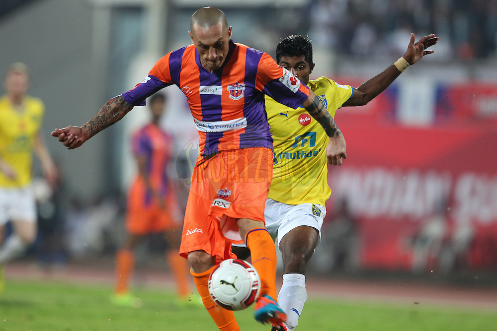 Bruno Cirillo of FC Pune City during match 17 of the Hero Indian Super League between FC Pune City<br /> and Kerala Blasters FC held at the Shree Shiv Chhatrapati Sports Complex Stadium, Pune, India on the 30th October 2014.<br /> <br /> Photo by:  Ron Gaunt/ ISL/ SPORTZPICS