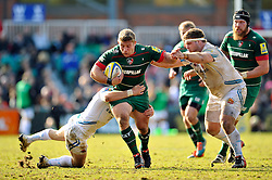 Tom Youngs of Leicester Tigers takes on the Chiefs defence - Photo mandatory by-line: Patrick Khachfe/JMP - Mobile: 07966 386802 28/03/2015 - SPORT - RUGBY UNION - Leicester - Welford Road - Leicester Tigers v Exeter Chiefs - Aviva Premiership