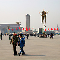 Asia, China, Beijing. Tourists at Tiananmen Square in Beijing.
