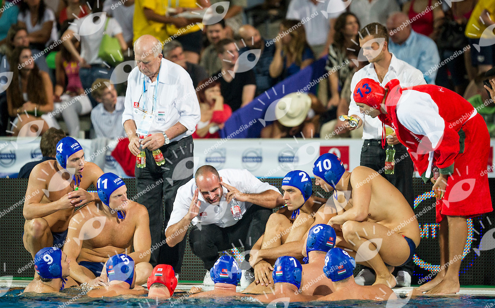 Team Hungary<br /> Spain (White) Vs Hungary (Blue)<br /> LEN European Water Polo Championships 2014<br /> Alfred Hajos -Tamas Szechy Swimming Complex<br /> Margitsziget - Margaret Island<br /> Day01 - July 14 <br /> Photo Giorgio Scala/Inside/Deepbluemedia