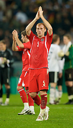 MONCHENGLADBACH, GERMANY - Wednesday, October 15, 2008: Wales' James Collins looks dejected after losing 1-0 to Germany during the 2010 FIFA World Cup South Africa Qualifying Group 4 match at the Borussia-Park Stadium. (Photo by David Rawcliffe/Propaganda)
