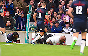 Fijian Nemani Nadolo scores Fijis first try in the first half during the Autumn International Series match between England and Fiji at Twickenham, Richmond, United Kingdom on 19 November 2016. Photo by Ian  Muir.