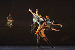 © Licensed to London News Pictures. 07/09/2015. London, UK. No Man's Land, choregraphy by Liam Scarlett. Fabian Reimair and Erina Takahashi performing. Working rehearsal of Lest We Forget performed by dancers from the English National Ballet at Sadler's Wells theatre. Lest We Forget is a reflectionon the First World War. Performances from 8 to 12 September 2015. Photo credit : Bettina Strenske/LNP