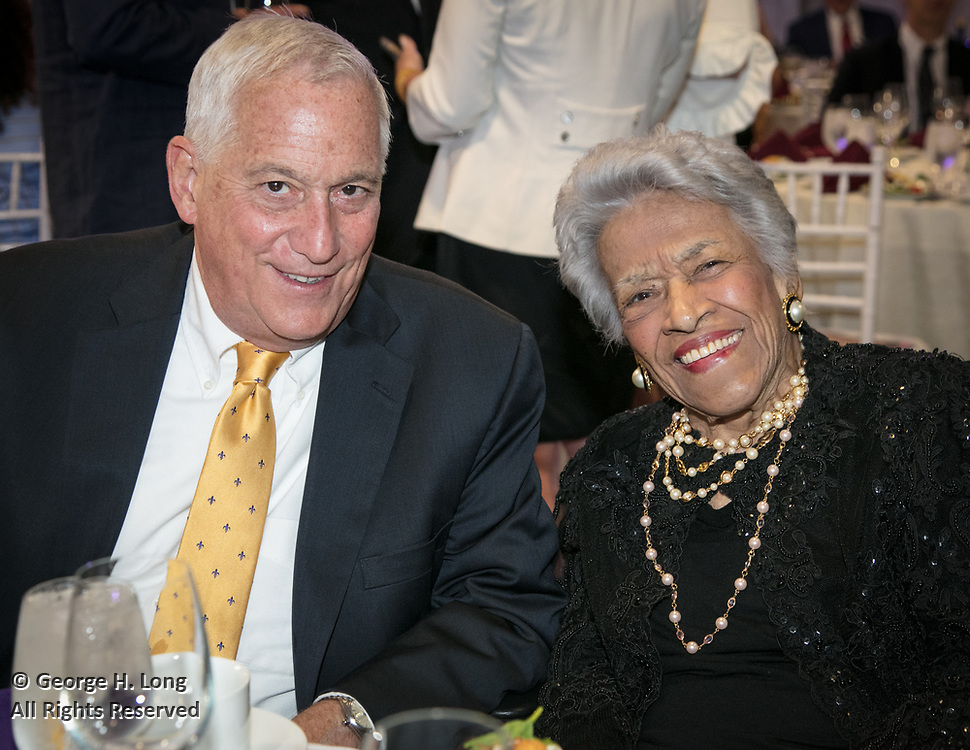 Walter Isaacson and Leah Chase at the Louisiana Endowment for the Humanities Bright Lights Awards Dinner at Popp Fountain in City Park of New Orleans on May 10, 2018
