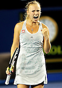 Jan 23, 2010; Melbourne, AUSTRALIA; Caroline Wozniacki (DEN) celebrates after winning a point against Shahar Peer (ISR) on day six of the 2010 Australian Open in Melbourne Park.  Wozniacki won 6-4, 6-0.  Mandatory Credit: Matthias Hauer/GEPA via US PRESSWIRE