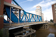 Drypool bridge and industrial buildings by River Hull, Hull, Yorkshire, England