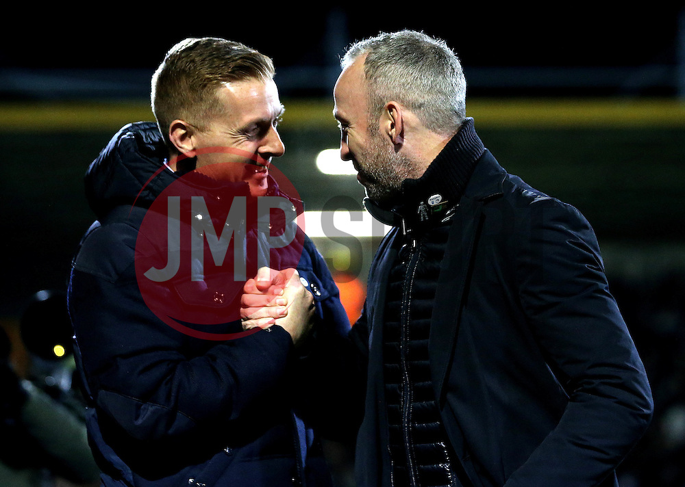 Leeds United manager Garry Monk and Cambridge United manager Shaun Derry shake hands - Mandatory by-line: Robbie Stephenson/JMP - 09/01/2017 - FOOTBALL - Cambs Glass Stadium - Cambridge, England - Cambridge United v Leeds United - FA Cup third round