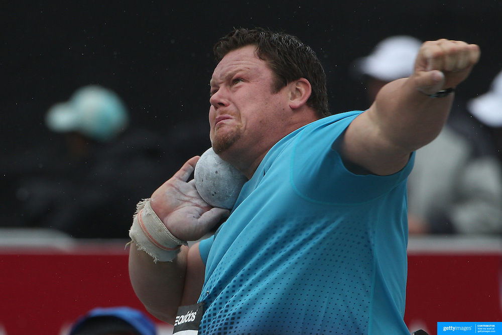 Dylan Armstrong, Canada, in action during the Men's Shot Put event at the Diamond League Adidas Grand Prix at Icahn Stadium, Randall's Island, Manhattan, New York, USA. 25th May 2013. Photo Tim Clayton