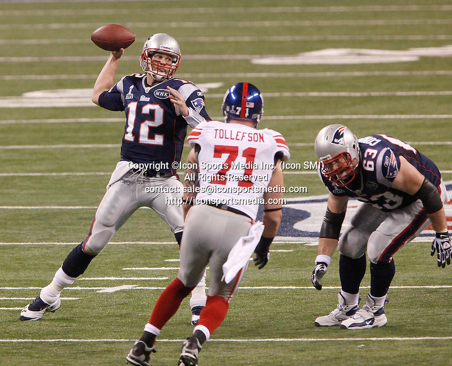 Feb. 5, 2012 - Indianapolis, IN, USA - Quarterback Tom Brady (12) of the New England Patriots makes a pass against the New York Giants in the first half during Superbowl XLVI on Sunday, February 5, 2012, at Lucas Oil Stadium in Indianapolis, Indiana.