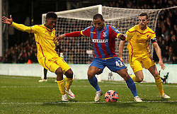 Crystal Palace's Jason Puncheon holds off Liverpool's Daniel Sturridge and Jordan Henderson - Photo mandatory by-line: Robbie Stephenson/JMP - Mobile: 07966 386802 - 14/02/2015 - SPORT - Football - London - Selhurst Park - Crystal Palace v Liverpool - FA Cup - Fifth Round
