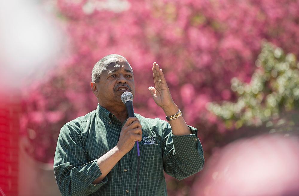 Ohio University President Roderick McDavis speaks at the International Street Fair on April 16, 2016.