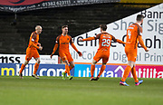 10th April 2018, Tannadice Park, Dundee, Scotland; Scottish Championship football, Dundee United versus St Mirren; Billy King of Dundee United is congratulated after scoring by Anthony Ralston