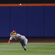 Randal Grichuk, St. Louis Cardinals, makes a great catch at center field during the New York Mets Vs St. Louis Cardinals MLB regular season baseball game at Citi Field, Queens, New York. USA. 16th May 2015. Photo Tim Clayton